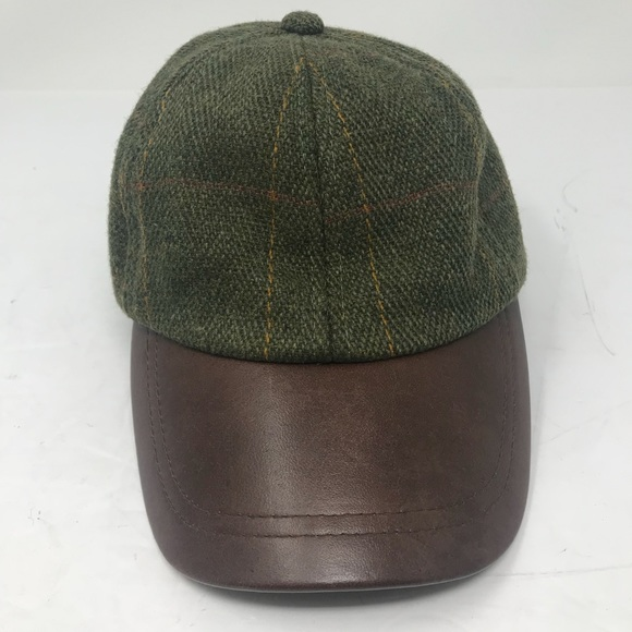 eefb9eac274 Tweed Leather Peak Baseball Cap Wool Leather. M 5bc1582fc2e9fe68923f0b5b